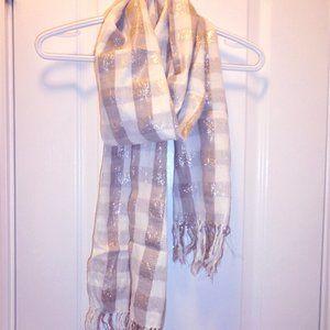 3/$36 Gap plaid scarf w/ fringe (neutral metallic)